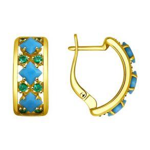 Серьги из золочёного серебра с голубыми ситаллами и фианитами 93020859 SOKOLOV