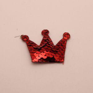 """Патч """"Корона с пайетками"""", 53*40 мм, цвет красный (1уп = 10шт)"""