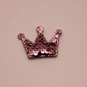 """`Патч """"Корона с пайетками"""", 53*40 мм, цвет светло-розовый"""