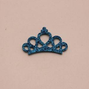 """Патч """"Корона с блестками"""", 46*31 мм, цвет  голубой (1уп = 25шт)"""