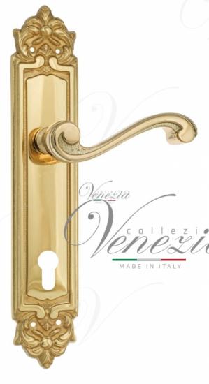 """Дверная ручка Venezia """"VIVALDI"""" CYL на планке PL96 полированная латунь"""
