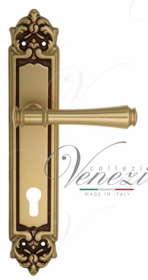 """Дверная ручка Venezia """"CALLISTO"""" CYL на планке PL96 французское золото + коричневый"""
