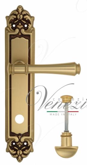 """Дверная ручка Venezia """"CALLISTO"""" WC-2 на планке PL96 французское золото + коричневый"""