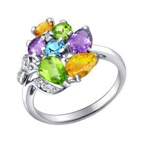 Кольцо из серебра с миксом камней 92010344 SOKOLOV