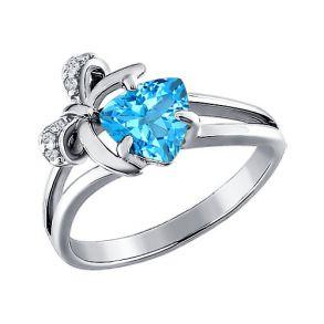 Кольцо из серебра с топазом и фианитами 92010558 SOKOLOV