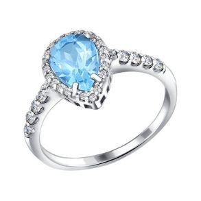 Кольцо из серебра с топазом и фианитами 92010859 SOKOLOV