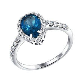 Кольцо из серебра с топазом и фианитами 92010860 SOKOLOV