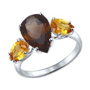 Кольцо из серебра с полудрагоценными вставками 92010999 SOKOLOV