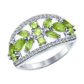 Кольцо из серебра с хризолитами и фианитами 92011273 SOKOLOV