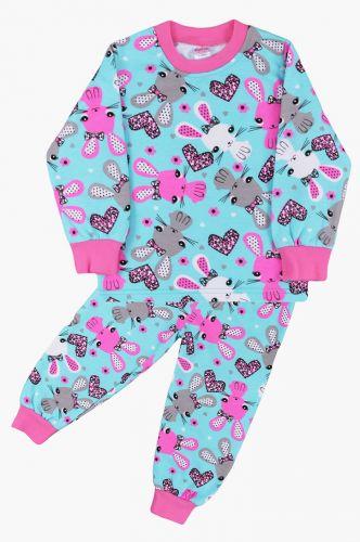Пижама с начесом, для девочек 2-6 лет BN921J бирюзовый
