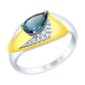 Кольцо из серебра с синим топазом и фианитами 92011463 SOKOLOV