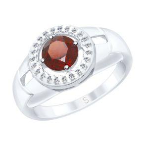 Кольцо из серебра с гранатом и фианитами 92011542 SOKOLOV