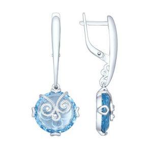 Серьги из серебра с ситаллами и сканью 92021382 SOKOLOV
