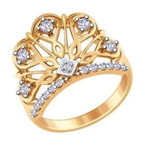 Кольцо из золочёного серебра с фианитами 93010631 SOKOLOV