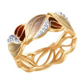 Кольцо из серебра с эмалью с фианитами 93010638 SOKOLOV