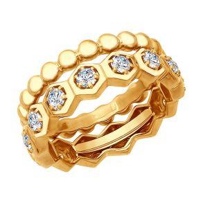 Кольцо из золочёного серебра с фианитами 93010735 SOKOLOV