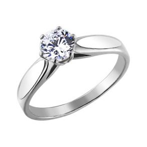 Помолвочное кольцо из родированного серебра 94010047 SOKOLOV