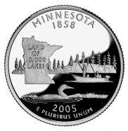 25 центов США 2005г - Миннесота, UNC - Серия Штаты и территории P