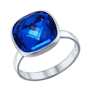 Кольцо из серебра с синим кристаллом swarovski 94011361 SOKOLOV
