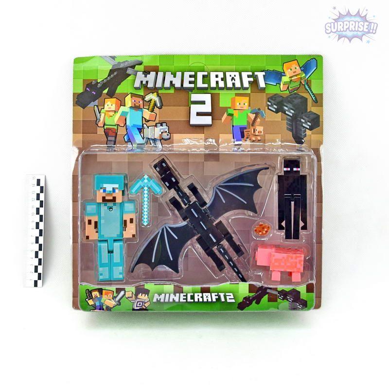 Minecraft2 фигурка 1герой большой+3героя+аксессуары (№18331)