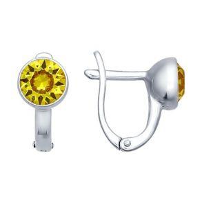 Серьги из серебра с жёлтыми кристаллами swarovski 94021611 SOKOLOV