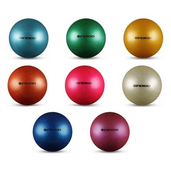 Мяч для худ. гимнастики INDIGO IN119 15cм 300г металлик с блестками