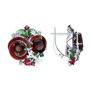 Серьги из серебра с эмалью и красными ситаллами и фианитами 92022107 SOKOLOV