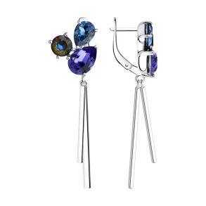 Серьги из серебра с голубыми кристаллами Swarovski 94023708 SOKOLOV