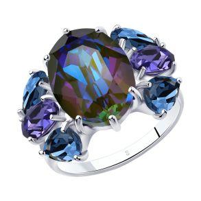 Кольцо из серебра с голубыми кристаллами Swarovski 94013055 SOKOLOV