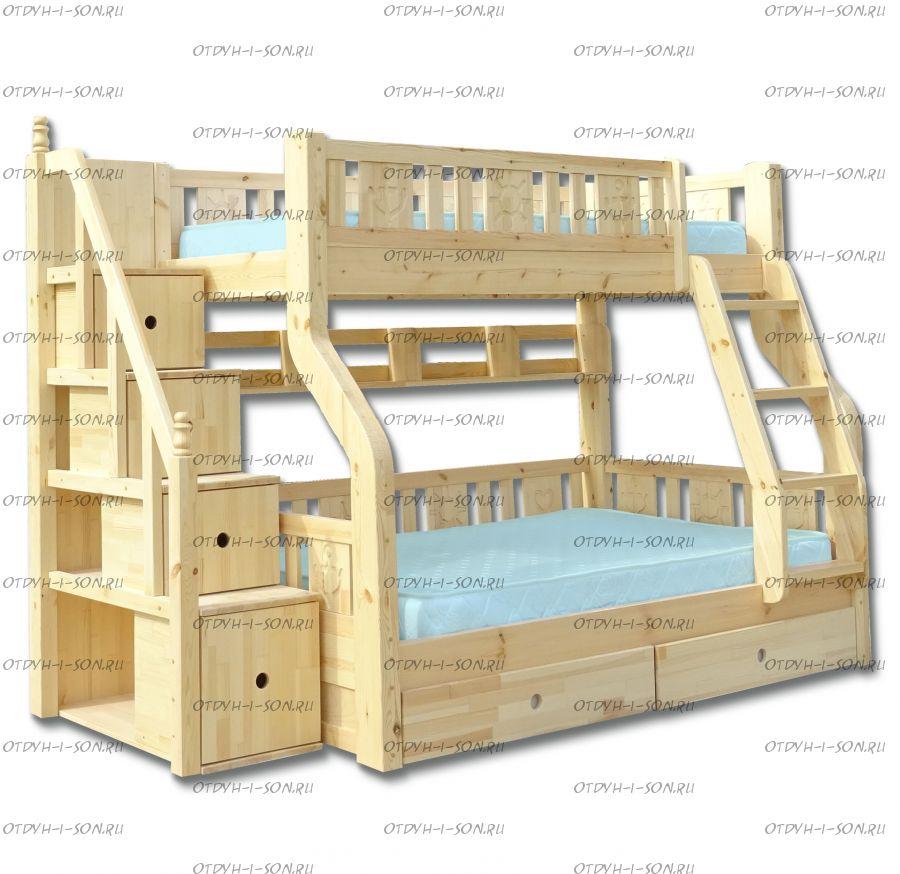 Кровать двухъярусная Ольга Плюс с ящиками