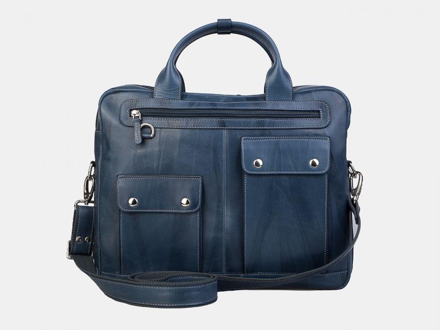 Сумка-портфель из натуральной кожи Alexander-TS «PF0019 Light Blue»