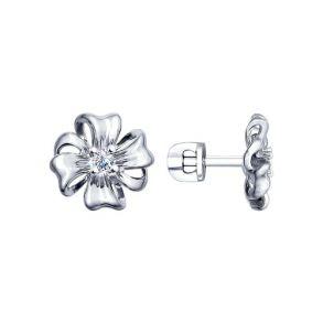 Серьги-пусеты из серебра с фианитами 94022483 SOKOLOV