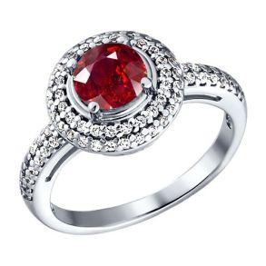 Кольцо из серебра с красным фианитом 94010780 SOKOLOV