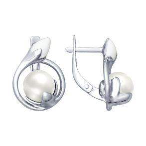 Серьги из серебра с эмалью с жемчугом 94022593 SOKOLOV