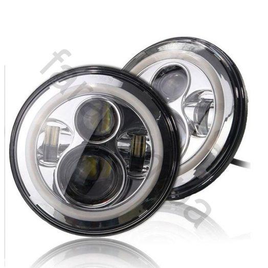 Светодиодные LED фары Нива (хромированные)