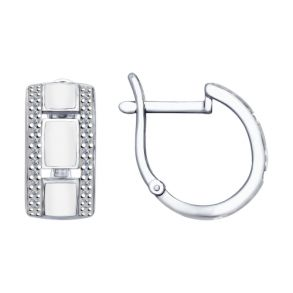 Серьги из серебра с эмалью с фианитами 94022648 SOKOLOV