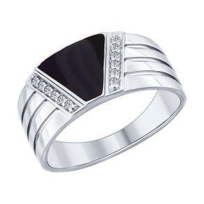 Кольцо из серебра с эмалью с фианитами 94012005 SOKOLOV