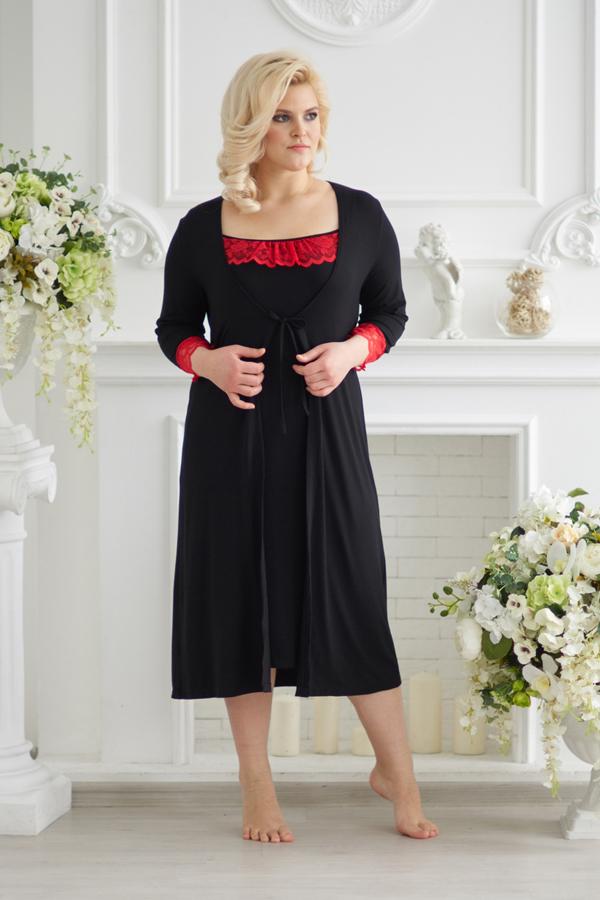 Комплект (халат и сорочка) арт.0075 черный, вискоза
