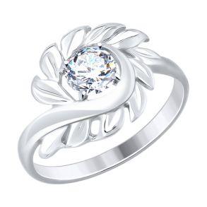 Кольцо из золочёного серебра с фианитами 94012476 SOKOLOV