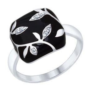 Кольцо из серебра с эмалью с фианитами 94012593 SOKOLOV