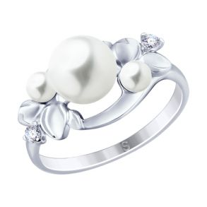 Кольцо из серебра с жемчугом и фианитами 94012795 SOKOLOV