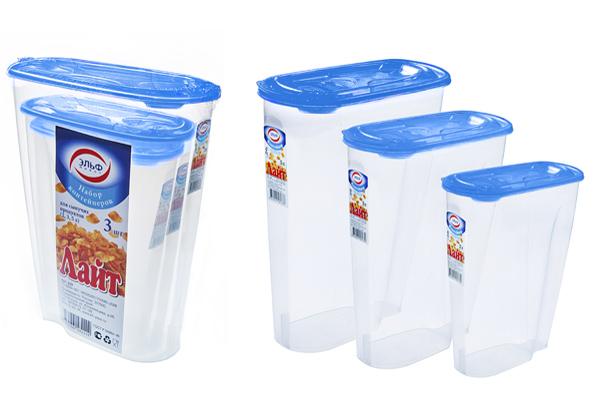 Набор контейнеров для сыпучих продуктов 2л, 3л, 5л.