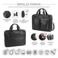 Деловая сумка для документов BRIALDI Parma (Парма) relief black