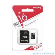SmartBuy Карта памяти microSD 16Gb 10 class +АДАПТЕР