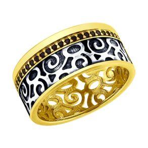 Кольцо из золочёного серебра с фианитами 95010115 SOKOLOV