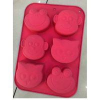 Силиконовые формы для выпечки (обезьяна, лягушка, сова), 6 ячеек, цвет розовый