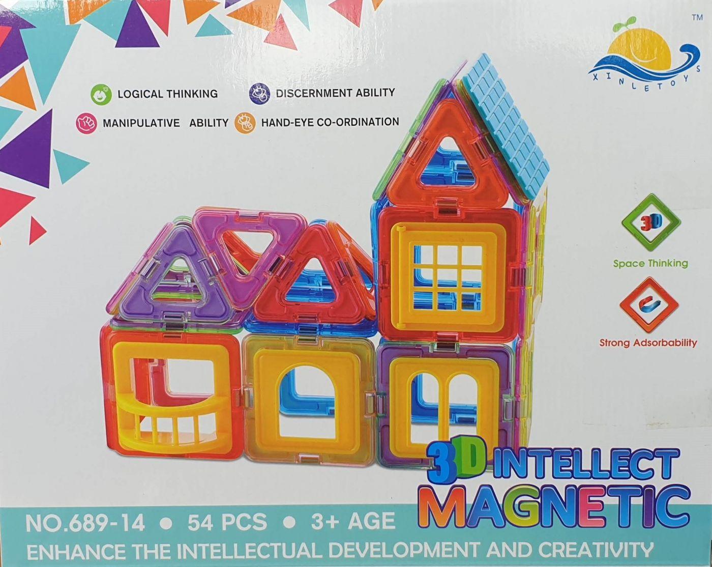 689-14 Магнитный конструктор дом 3D INTELLECT MAGNETIC 54 детали