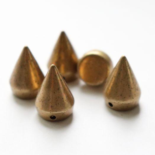 Шипы декоративные, пришивные, 2 см, Старое золото, 5 шт/упак