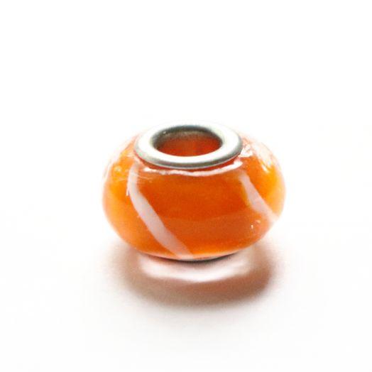 Бусина в стиле Пандора (Pandora), стеклянная, оранжевая