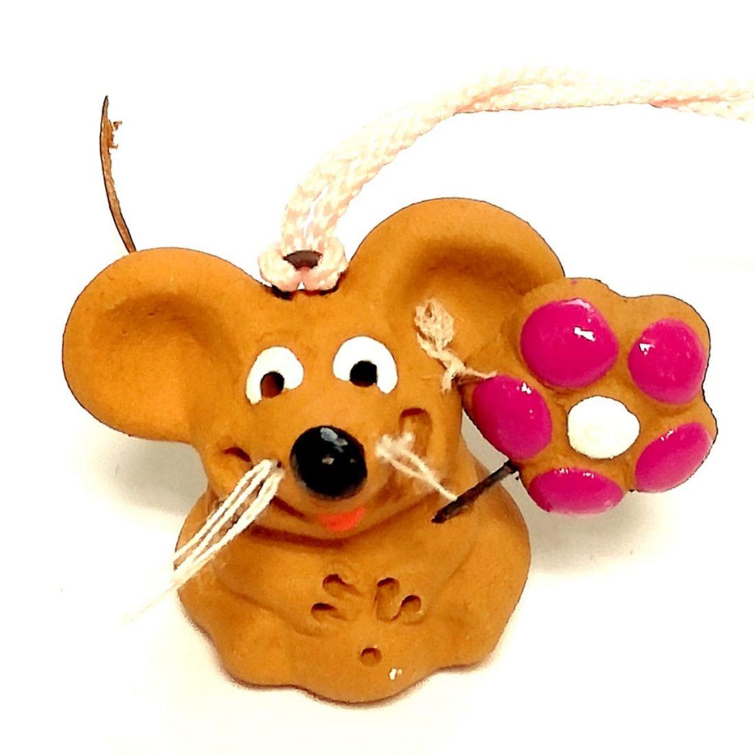 Фигурка мышка с цветком Керамика